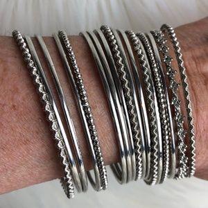 Jewelry - A BUNDLE OF 16 SILVER BANGLE BRACELETS